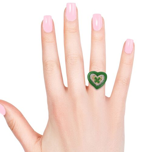 Green Jade (Hrt), Natural Cambodian White Zircon Heart Ring in Rhodium and Gold Plating Sterling Silver 16.655 Ct, Silver wt 9.92 Gms.