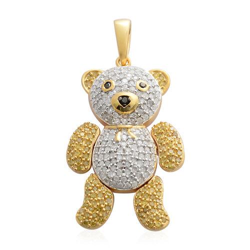Diamond (Rnd), Yellow Diamond and Black Diamond Teddy Pendant in Rhodium and 14K Gold Overlay Sterling Silver 1.00 Ct. Number of Diamonds 235