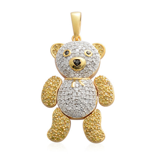Natural White and Yellow Diamond Teddy Pendant with Chain in Platinum and 14K Gold Overlay Sterling Silver 1.001 Ct.