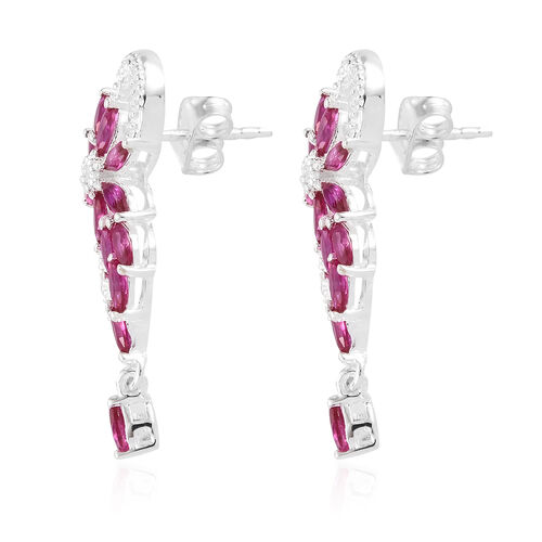 ELANZA Simulated Ruby (Mrq), Simulated Diamond Cluster Earrings (with Push Back) in Sterling Silver.