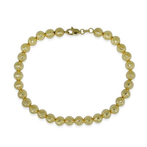 Designer Inspired- 9K Yellow Gold Diamond Cut Ball Bracelet (Size 8), Gold wt 7.08 Gms.