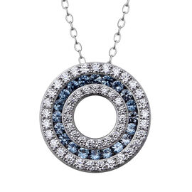ELANZA Simulated Aquamarine (Rnd), Simulated Diamond Three Row Circle Pendant With Chain (Size 18) i