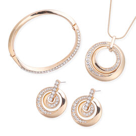 3 Piece Set - White Austrian Crystal Pendant with Chain (Size 24 with 2 inch Extender), Bangle (Size
