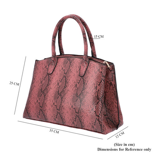 Closeout Collection Snake Print Tote Handbag (Size - 35x12x25cm) - Burgundy