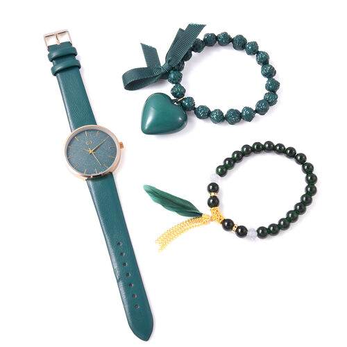 3 Piece Set - STRADA Japanese Movement Watch with Green Strap, Simulated Green Agate, White Austrian