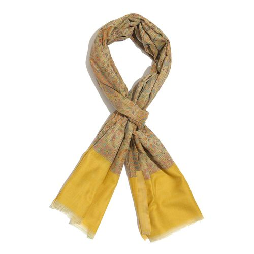 88% Merino Wool and 12% Silk Mustard and Multi Colour Shawl with Fringes (Size 180x70 Cm)