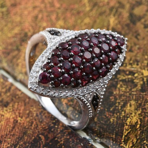 Arizona Anthill Garnet (Rnd), Boi Ploi Black Spinel and Natural Cambodian Zircon Ring in Platinum Overlay Sterling Silver 3.000 Ct.