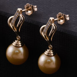 9K Yellow Gold South Sea Pearl and Natural Cambodian Zircon Earrings (with Push Back)