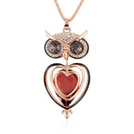 Simulated Garnet (Pear 30x20 mm), Simulated Grey Spinel, White Austrian Crystal Owl Pendant With Chain (Size 30 and 2 inch Extender) in Silver Tone