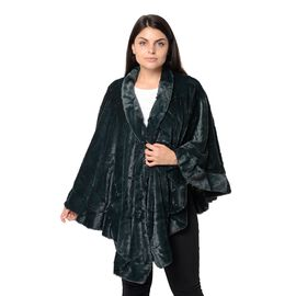 Super Soft Faux Fur Free Size Wrap with Loose Silhouette with Ruffle Border (L-70 Cm) - Dark Green