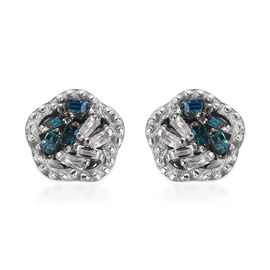 Blue Diamond (Bgt), Diamond Stud Earrings (with Push Back) in Platinum Overlay Sterling Silver 0.05
