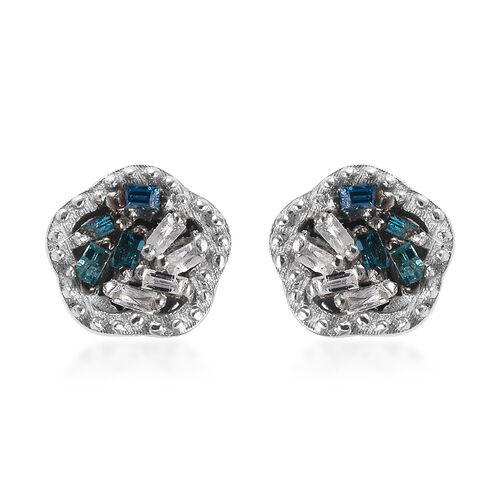 Blue Diamond (Bgt), Diamond Stud Earrings (with Push Back) in Platinum Overlay Sterling Silver 0.05