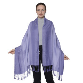 Purple Gradient Cotton-Blend Scarf with Tassels (73x180cm)
