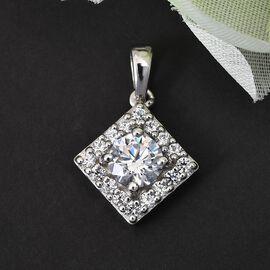 J Francis Platinum Overlay Sterling Silver Pendant Made with SWAROVSKI ZIRCONIA 2.12 Ct.