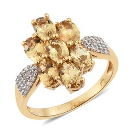 Heliodor (Ovl), Natural Cambodian Zircon Floral Ring in 14K Gold Overlay Sterling Silver 3.000 Ct.