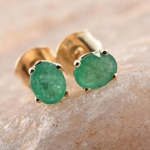9K Yellow Gold 0.60 Ct AA Kagem Zambian Emerald Solitaire Stud Earrings (with Push Back)