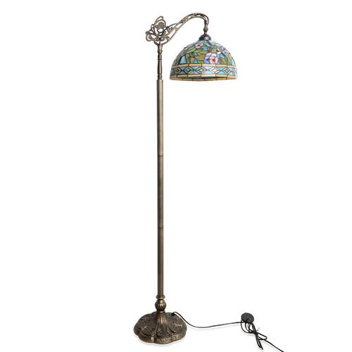 Premium Collection - Tiffany Style Floor Lamp with Handcrafted Stained Glass Floral Design and Adjus
