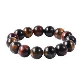 Multi Colour Tiger Eye (Rnd 13-15mm) Stretchable Beads Bracelet (Size 7.5) 300.00 Ct.