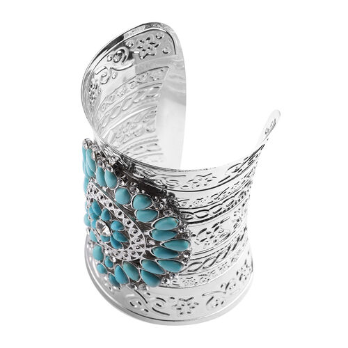 Blue Howlite and White Austrian Crystal Bangle (Size 7.5) in Silver Tone