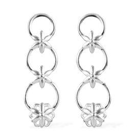 Floral Dangle Earrings in Sterling Silver