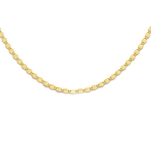 Italian Made 9K Yellow Gold Mirror Valentino Necklace (Size 18)