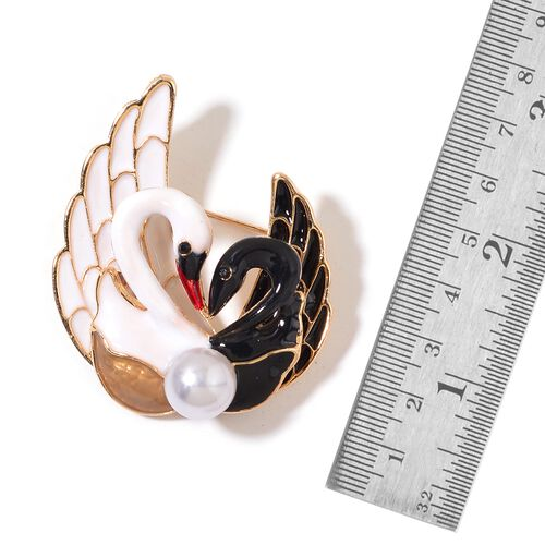 Set of 2 - Simulated White Pearl, Simulated Garnet, White and Black Austrian Crystal Enameled Swan Lovers and Dragonfly Brooch in Yellow Gold Tone