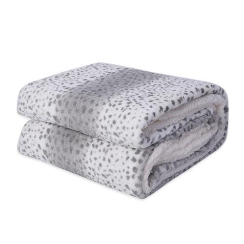 Faux Fur Leopard Pattern Sherpa Blanket (Size 150x200cm) - Light Grey and White