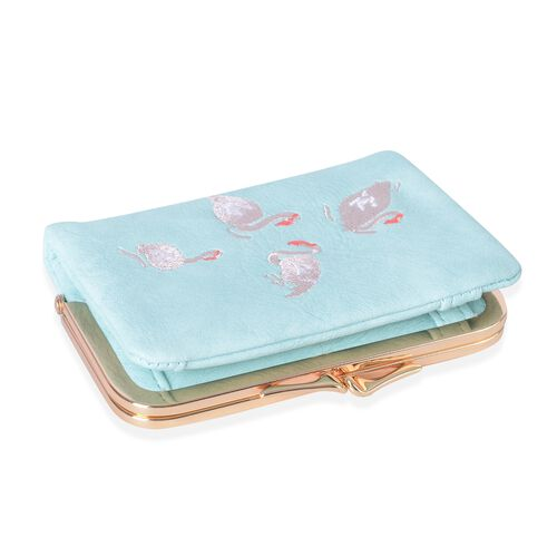 Light Green and White Colour Swan Embroidered Ladies Wallet (Size 12x8.5x2.5 Cm)