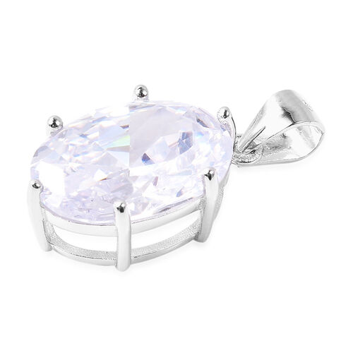 ELANZA- Swiss Star Cut Cubic Zirconia (Ovl 14x10mm) Solitaire Pendant  in Rhodium Plated Sterling Silver