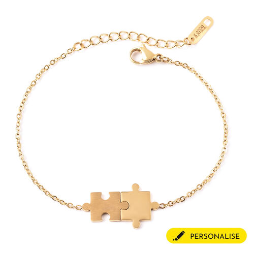 Personalise Engravable Puzzle Bracelet, Size 6.5+1.5 Inch, Stainless Steel