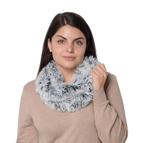 Set of 2 - Solid Colour and Rose Pattern Faux Fur Winter Collar Scarf (Size 17.8x157.4 Cm) - Navy and Grey