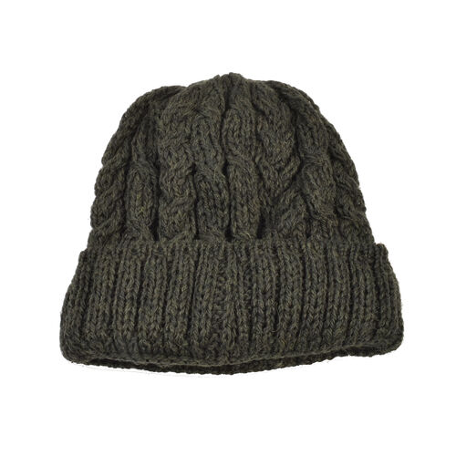 Aran 100% Pure Woollen Mills Cable Irish Hat in Moss Colour (One Size)