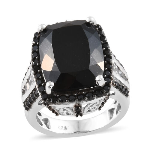 Black Tourmaline (Cush 12.00 Ct), Boi Ploi Black Spinel and White Topaz Ring in Platinum and Black Overlay Sterling Silver 13.000 Ct, Silver wt 7.09 Gms.