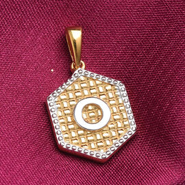 Yellow Gold and Platinum Overlay Sterling Silver Initial letter O Pendant