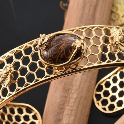 Rare Natural Honey Jasper (Ovl) Cuff Bangle (Size 7.5) in ION Plated 18K Yellow Gold Bond 9.750 Ct.