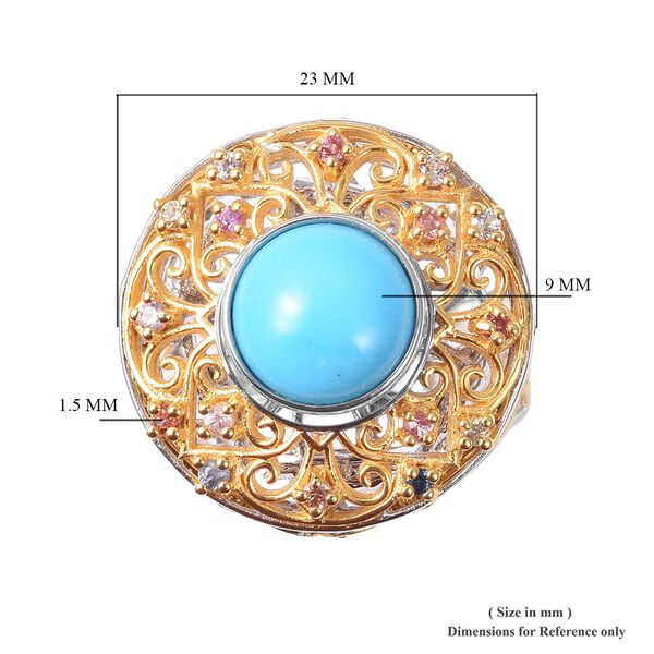 Arizona Sleeping Beauty Turquoise & Multi Sapphire Ring in Vermeil Yellow Gold Ovelay Sterling Silver  2.47 Ct, Silver Wt 10.00 Gms