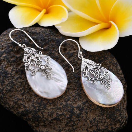 Royal Bali Collection - Mother of Pearl Hook Earrings in Sterling Silver