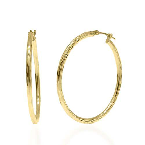 Vicenza Collection- Limited Edition- 9K Yellow Gold Diamond Cut Hoop Earrings (with Clasp)m Gold weight 1.69 gram