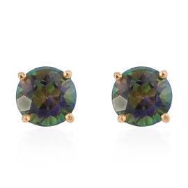 Northern Lights Mystic Topaz (Rnd) Stud Earrings (with Push Back) in 14K Gold Overlay Sterling Silver 2.000 Ct.
