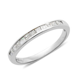 RHAPSODY 950 Platinum IGI Certified Diamond (Sqr) (VS /E-F) Half Eternity Ring 0.500 Ct.
