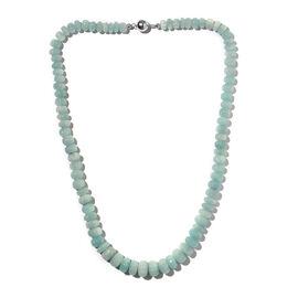 Extremely Rare Shape Amazonite Necklace (Size - 18) with Magnetic Lock in Rhodium Overlay Sterling S