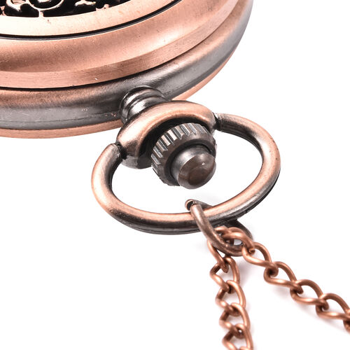 GENOA Automatic Mechanical Hollow-Out Flower Pattern Pocket Watch with Chain in Antique Rose Gold Tone