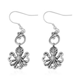 Royal Bali Collection - Sterling Silver Octopus Earrings, Silver wt 3.62 Gms