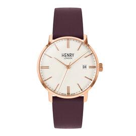 Henry London Regency Unisex Cream White Dial Watch with Dark Blue Leather Strap