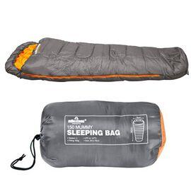 Mummy Sleeping Bag in Grey and Orange - Single - 2 Seasons (210x52x72 Cm)