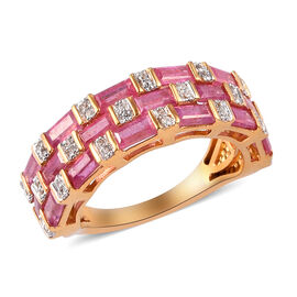 African Ruby and Natural Cambodian Zircon Ring in 14K Gold Overlay Sterling Silver 3.47 Ct.
