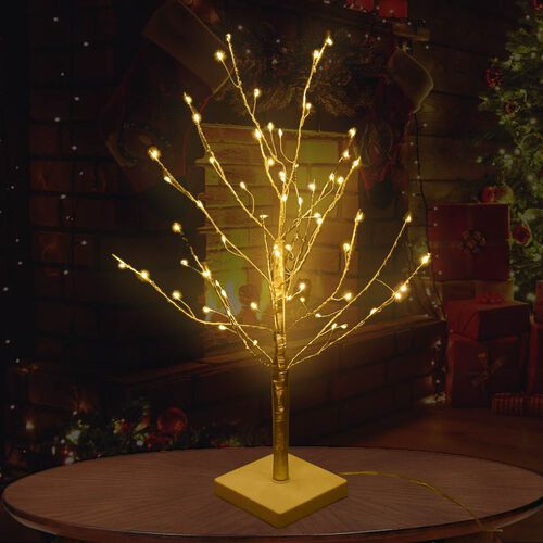 60 cm Tall Tree with 64 LED Warm Lights - Champagne Gold (3xAA Battery not Included)