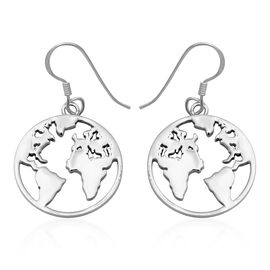 World Map Design Earrings with Hook in Sterling Silver 5.01 Grams