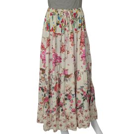Multi Colour Floral Printed Tier Skirt (Size 97x76 Cm)