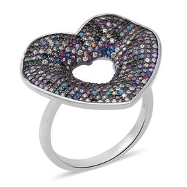ELANZA Multi Colour Simulated Diamond (Rnd) Heart Ring in Rhodium and Black Overlay Sterling Silver,